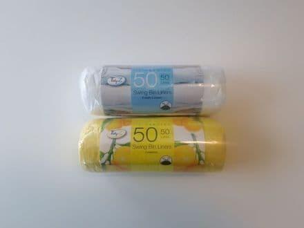 Tidyz Swing Bin Liners Fragranced Pack 50 - 50L